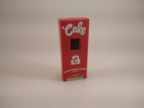 Cake Strawberry Cough Sativa High Potency Delta-8 Disposable Vape.