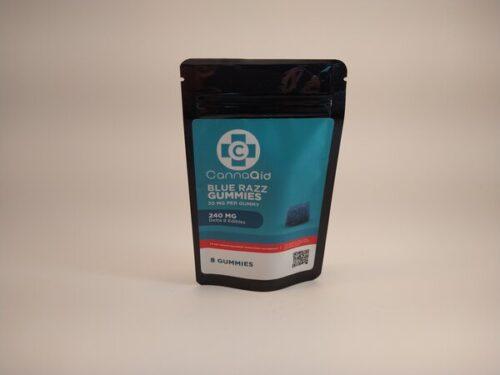 CannaAid Blue Razz Gummies. 240mg Blue Razz Flavored Delta 8 Edibles. 8 30mg Gummies.