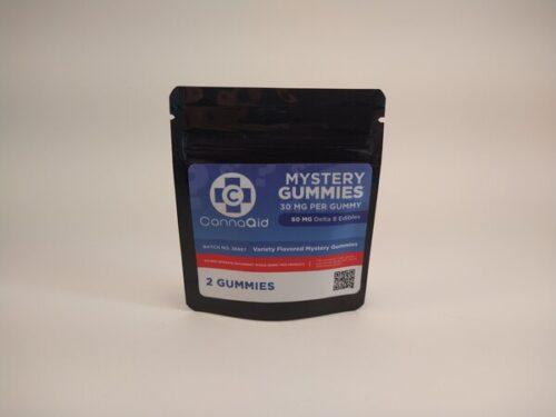 CannaAid Mystery Gummies. 60mg Variety Flavored Delta 8 Edibles. 2 30mg Gummies.