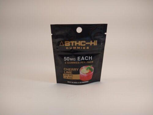 Delta8THC-HI Gummies 250mg Cherry Lime Flavored, 5 gummies per pack. 50Mg each.
