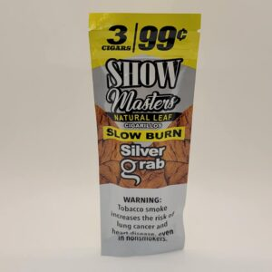 Show Masters Silver Grab Slow Burn Natural Leaf Cigarillos 3 pack for 99 cents.